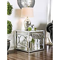 Furniture of America Mishie Contemporary Glass Top End Table Chrome Chrome Finish