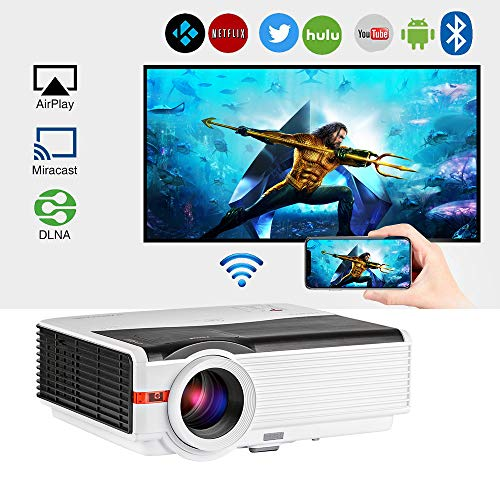 2019 Bluetooth Projector WiFi Wireless Android 5000 Lumens LCD LED Smart Video Projector Home Theater Support HD 1080P Airplay HDMI USB VGA AV for TV Smartphone DVD Game Console Laptop Outdoor Movie (Outdoor Laptop)