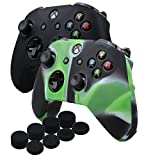 Cheap YoRHa Silicone Cover Skin Case for Microsoft Xbox One X & Xbox One S controller x 2(black&Camouflage green) With PRO thumb grips x 8