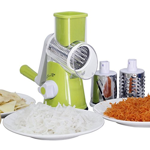 Green Manual Mandoline Slicer Grater Julienne Straight Cutter With 3 Round Stainless Steel Blade Drum for Vegetable Fruit Green Vegetable Cutter