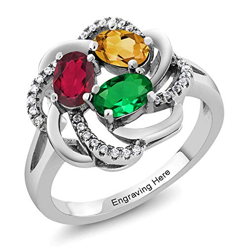 (Build Your Own Ring - Personalized 3 Birthstone Flower Blossom Ring in Rhodium Plated 925 Sterling Silver (Size 9))