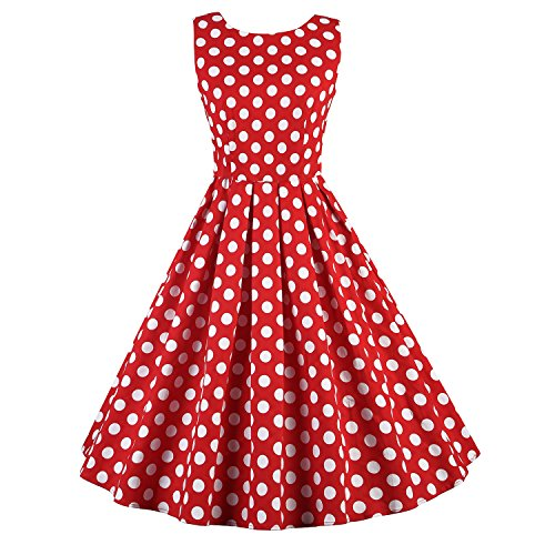 Women's Polka Dots Vintage Sleeveless V Back Rockabilly 50s Swing Party Dresses