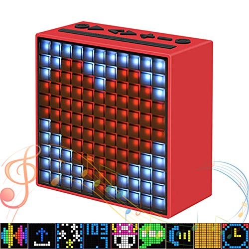 EJOYDUTY Smart Portable Bluetooth LED Speaker with APP-Controlled Pixel Art Animation, Notification and Build- in Clock/Alarm, Best Holiday Creative Gift,C