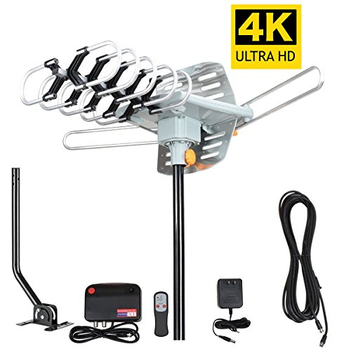 TV Antenna -Outdoor Amplified HDTV Antenna 150 Mile Motorized with Adjustable Antenna Mount Pole for 2 TVs Support - UHF/VHF 4K 1080P Channels Wireless Remote Control - 33FT Coax Cable - 4 Channel Coaxial