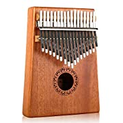 #LightningDeal Kalimba 17 Keys Thumb Piano with Study Instruction and Tune Hammer, Portable Mbira Sanza African Wood Finger Piano, Gift for Kids Adult Beginners Professional