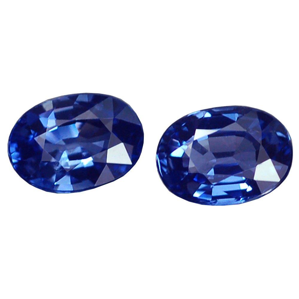 Ploythai 2.16CT MARVELOUS VVS PAIR OVAL BLUE CEYLON SAPPHIRE NATURAL