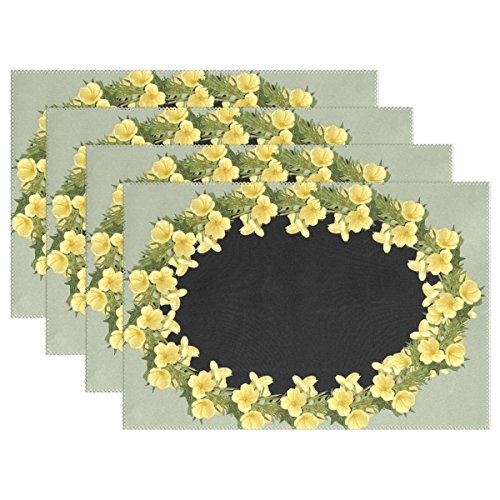 YPink Frame Border Evening Primrose Placemats Set Of 4 Heat Insulation Stain Resistant For Dining Table Durable Non-slip Kitchen Table Place Mats