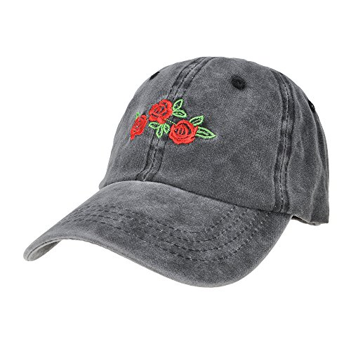 ZLYC Rose Embroidered Cotton Baseball Cap Adjustable Strapback Hat for Mens Womens, Distressed Grey