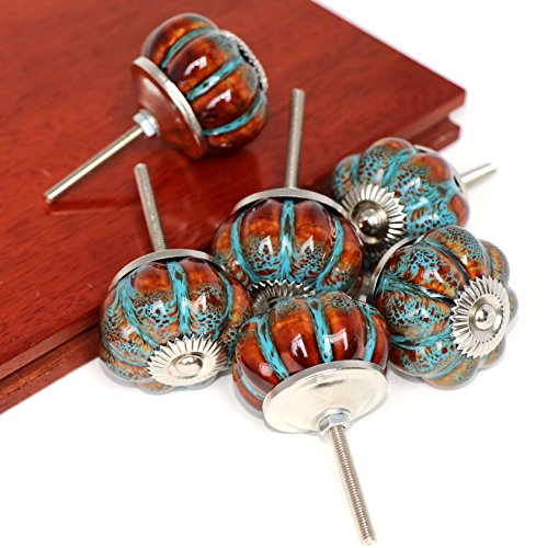 SunKni 6Pcs BLUE Pumpkin Knobs Dresser Drawer Pulls Ceramic Handles Cabinet Kitchen Bathroom Furniture Door Closet Wardrobe Cupboard Knobs New Sets Prime Quality Classy Vintage Style - Original Screws (Wardrobe Company Vintage)