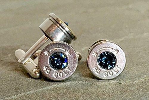 Bullet Shell Casing Cuff links and Tie Pin Gift Set Swarovski Montana Navy Blue