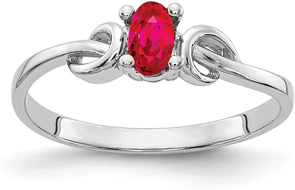 Mia Diamonds 14k White Gold 5x3mm Oval Ruby Ring