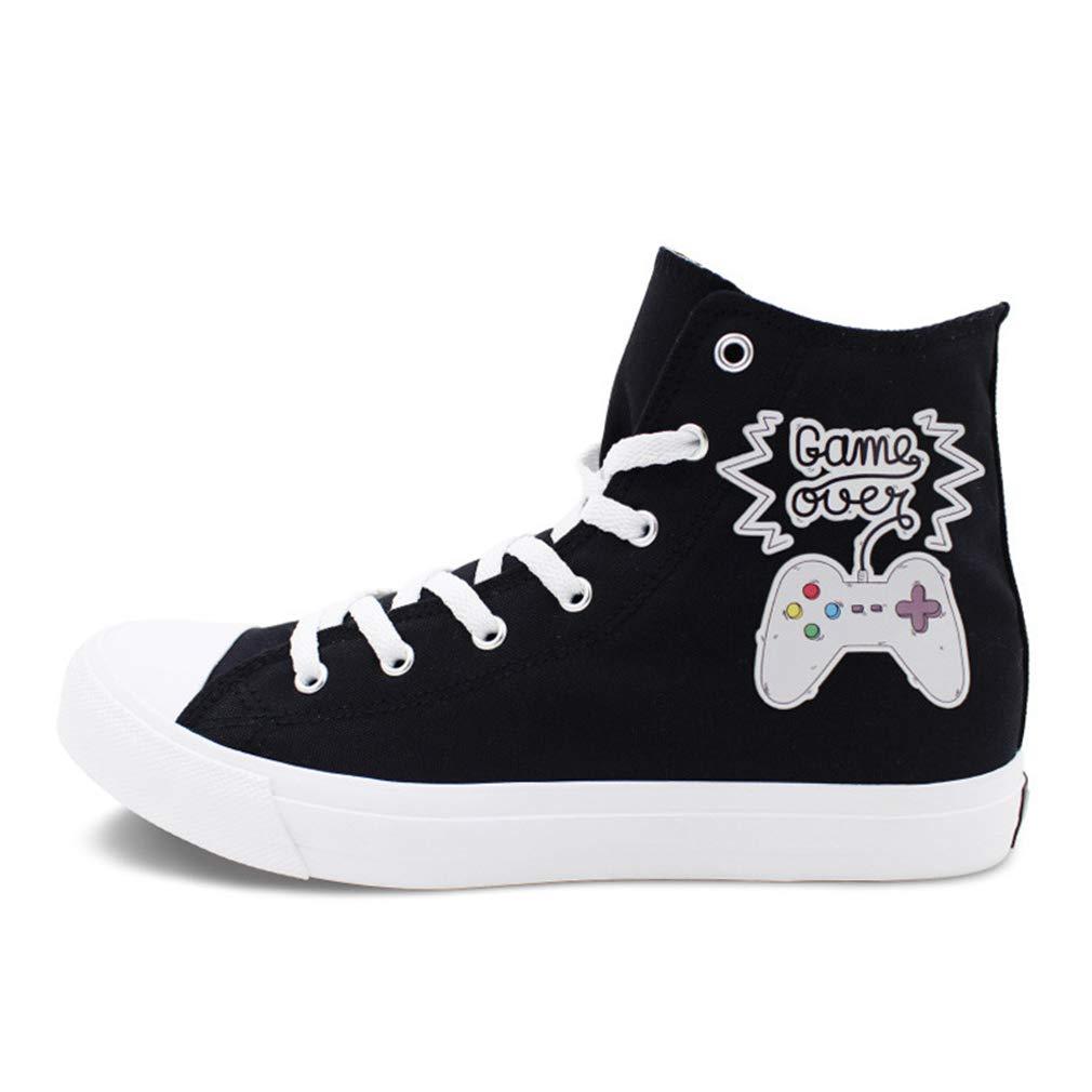 YAN Liebhaber Schuhe Flache Schuhe Spiel Griff Design Atmungsaktiv Komfort Klassische Leinwand Schuhe Mode Sportlich Schuhe Schwarz Weiß (Farbe   Schwarz, Größe   45)