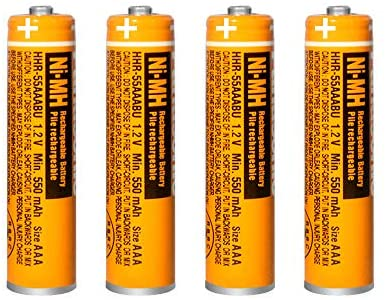 4PCS NI-MH AAA Rechargeable Battery, 1.2V 550mAh Battery for Panasonic Cordless Phone, HHR-55AAABU Replacement Battery
