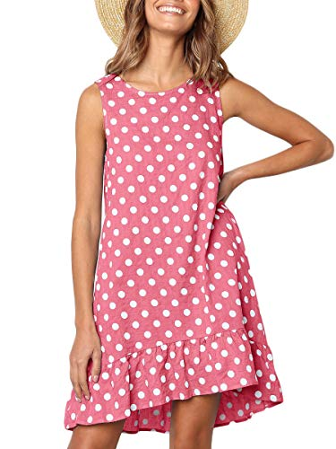 MOPOOGOSS Dot Dress for Women Sleeveless Round Neck Casual Loose Fit Midi Dressess Pink Small
