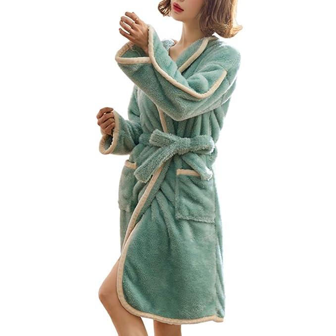 Otoño Invierno Bata para Mujer Camisón Grueso Y Cálido Albornoz Pijamas Largos Hogar Loungewear: Amazon.es: Ropa y accesorios
