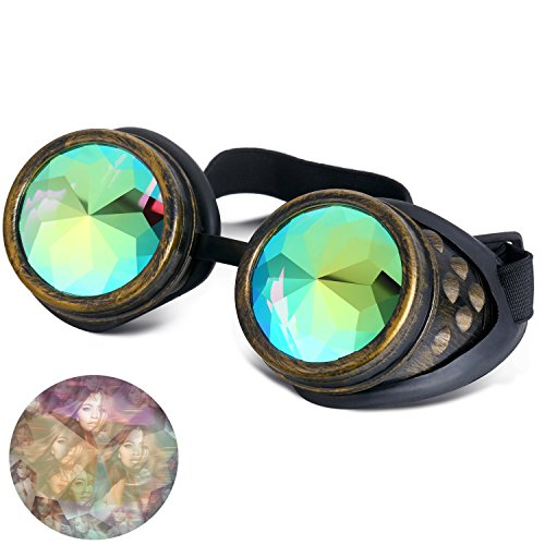 Goggle Bands (ilandle Kaleidoscope Glasses Goggles Steampunk Cosplay Lenses with Adjustable Elastic Band)