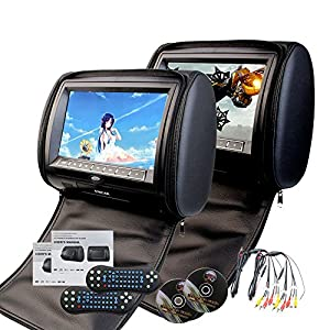 2016 Two Car Headrests DVD Player 9inch Twin Screen for USB SD Multimedia Video with IR FM Transmitter Double Pair Car Pillow Monitors USB/SD/32 Bit Games/Zip Cover (Black)