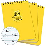 "Rite in the Rain Weatherproof Top-Spiral Notebook, 4"" x 6"", Yellow Cover, Universal Pattern, 3 Pack (No. 146-3)"