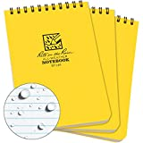 "Rite in the Rain Weatherproof Top Spiral Notepad, 4"" x 6"", Yellow Cover, Universal Pattern, 3 Pack (No. 146-3)"