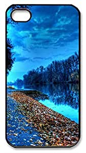 Autumn Lake Leaves Protective Hard Plastic Back Fits Cover Case for iphone 4 iphone 4s -1122073