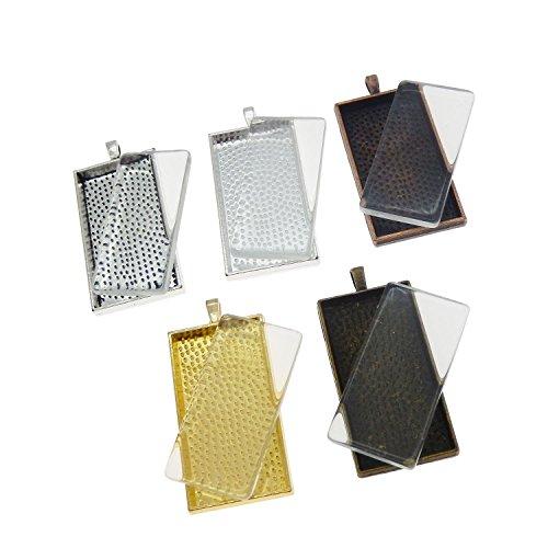 Julie Wang 10 Sets Mixed Color Rectangle Bezel Tray Setting w/Glass Tile Cabochon Pendant ()