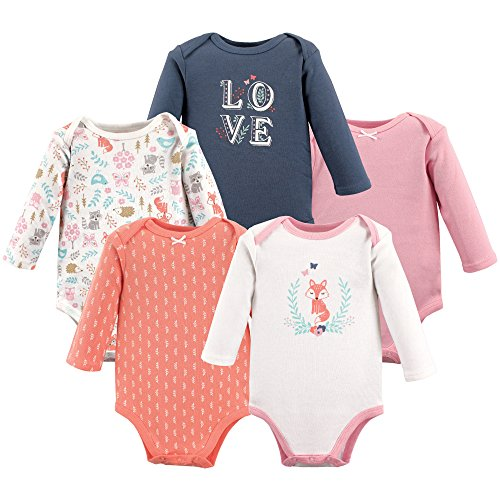 (Hudson Baby Unisex Baby Long Sleeve Cotton Bodysuits, Woodland Fox Long Sleeve 5 Pack, 6-9 Months (9M))