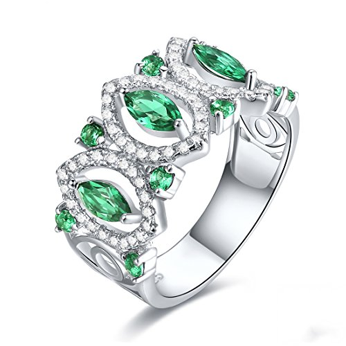 Jrose 925 Sterling Silver Created Marquise Cut Green Emerald Half Eterniy Ring Band for (Marquise Created Emerald Ring)