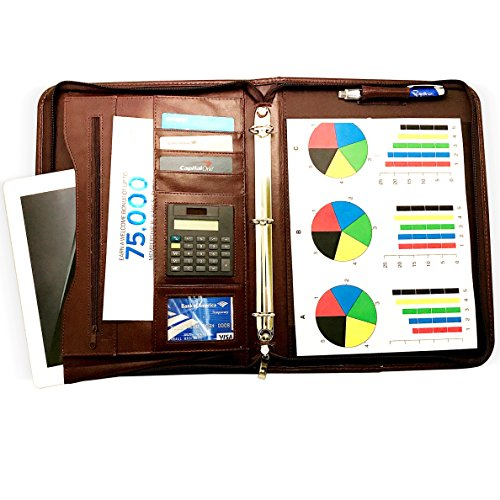 Zippered Calculator Padfolio - Rizwan Zippered Executive 3 Ring Leather Portfolio Binder Organizer Padfolio with Bonus Writing Pad, Solar Calculator, Zippered Closure, LED Pen and Carrying Handle for Business Professional (Brown)