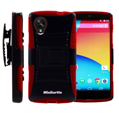 MINITURTLE, Rugged Hybrid Dual Layer Armor Phone Case Cover with Built in Kickstand, Holster Belt Clip, and Screen Protector for Android Smartphone LG Google Nexus 5 (Black / Red)