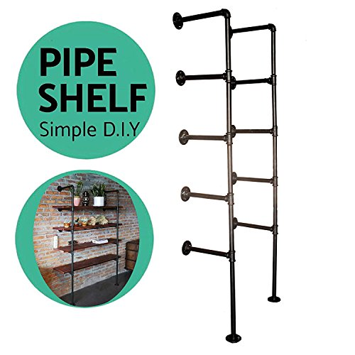 Industrial French Country Style Decorative Pipe Wooden Wall ShelvesRustic DIYCeiling Five-layer Pipe Shelf Wall Vintage Hung Bracket Industrial Shelves (five-layer × 2)