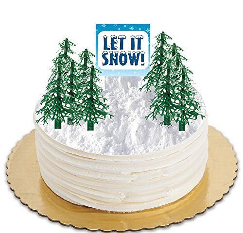Cake / Food / Cupcake Decoration Plant Tree Topper Picks with Plaque (12 Evergreens)