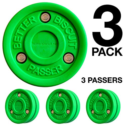 (Better Biscuit Passer-3 Pack | Off-Ice Stickhandling & Passing Puck | This Biscuit is Great for Street Hockey, Green )