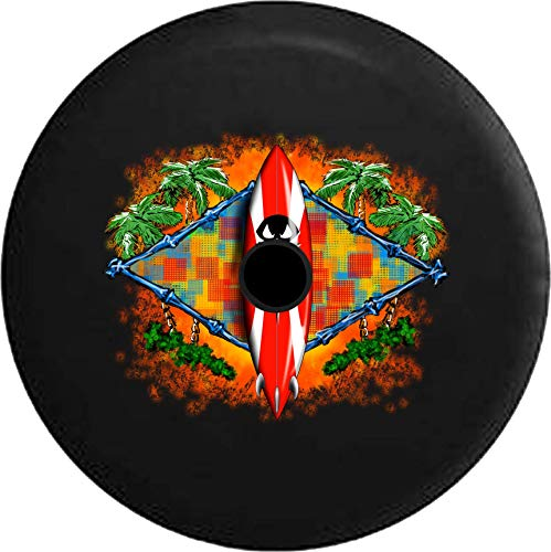 JL Series Spare Tire Cover with Backup Camera Hole Tiki hut Surfboard in The Tropical Island Surfing Beach Life … Black 33 in ()