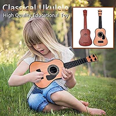 Mini Ukulele Toy for Kids, FunDiscount Wooden 4 Strings Guitar Children Musical Instruments Educational Toys Portable Interactive Music Toy for Beginnger Starter Girls and Boys (16 Inch Style 1)