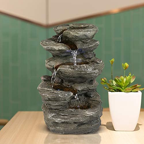 BBabe Staggered Rock Cascading Fountain 11 , 5-Tiered Feng Shui Rocky Water Falls Tabletop Water Fountain with LED Lights for Home Office Decor