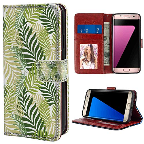 (Leaf Tropic Exotic Palm Tree Leaves Natural Botanical Spring Summer Contemporary Graphic Green Ecru Print Wallet Phone Case for Samsung Galaxy S7 (2016) (5.1in) Protective Case)