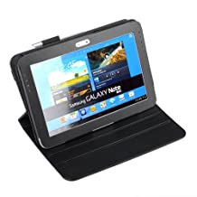 DURAGADGET Executive Black Leather Rotating Case With Flip Stand & S-Pen Holder Custom Designed For The Samsung Galaxy Note 10.1 (N8000, N8010 & N8013) - Display In Landscape Or Portrait
