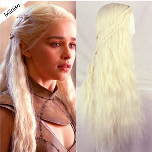 [Mildiso Game of Thrones Cosplay Costume Wig Daenerys Targaryen Wig for Women Long Wavy Curly Wigs Heat Resistant Synthetic Hair Wigs (Beige) M008] (Daenerys Costumes Game Of Thrones)