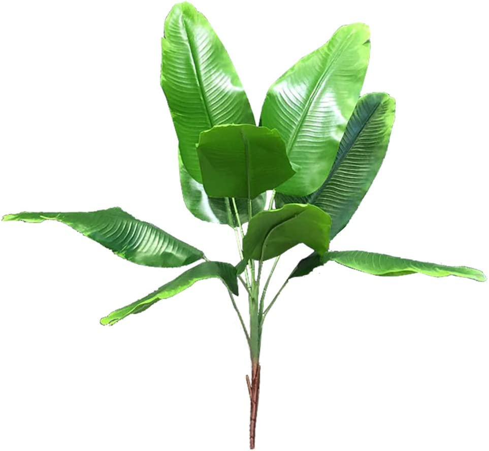 Artificial Plants Tropical Leaves Banana Tree Faux Palm Leaf Bird of Paradise Plant Fake Leaves Greenery Shrubs Indoor Outside Home Garden Office Verandah Wedding Décor