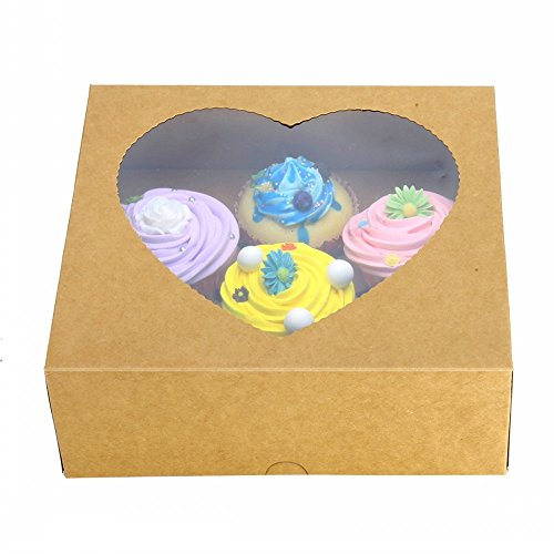 RomanticBaking 10pcs Regular Brown Krft 6 Cupcake Box With Clear Window Inserts Handle for Wedding Favor Cupcake from RomanticBaking
