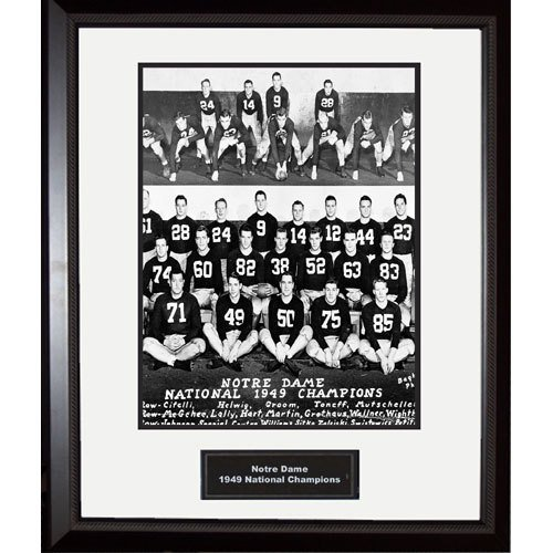 NCAA Notre Dame Fighting Irish 1949 National Championship Team Portrait Framed Igned 16x20 Photo by Steiner Sports