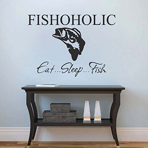 (Fishoholic Eat Sleep Fish Wall Quote Home Sticker Living Room Fishing Funny Salmon Bedroom Removable Wall Quote Decal Viny)
