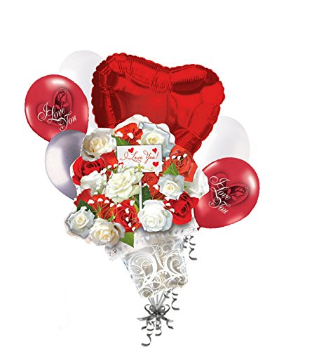 7 pc Roses Heart Valentines Day Balloon Bouquet Anniversary Hug Kiss Love You -
