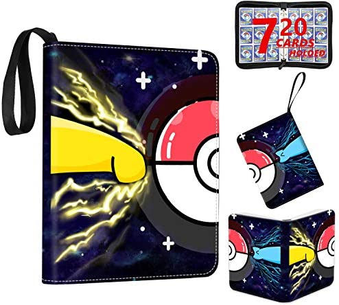 Trading Card Binder with Sleeves, 720 Pockets Zipper Binder Card Holder Collectors Album Folder Carrying Case with 40 Premium 18-Pocket Sheets Fit for TCG Baseball and Football Cards