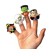 Toys : Dozen Vinyl Halloween Character Finger Puppets (Witch, Dracula, Ghoul, Frankenstein)