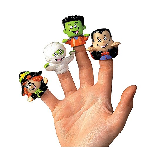 Dozen Vinyl Halloween Character Finger Puppets (Witch, Dracula, Ghoul, Frankenstein) (Red Contact Lenses Halloween)