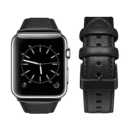 top4cus Genuine Leather iwatch Strap Replacement Band Stainless Metal Clasp, Compatible for 38mm 42mm Apple Watch Series 4(40mm 44mm) S3 S2 S1 and Sport Edition (42mm, Matte Black)