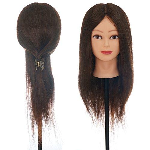 ViogrIA Maniquí de cabeza 80% pelo humano 55cm Color, Entrenamiento de Cabello Cabezal de Modelo Maniquíes (con soporte &...