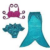 JFEELE Kids Toddler Baby Girls 2 Piece Swimsuit with Mermaid Tail Swimwear Bikini Set - 2-3T,Blue with Rose