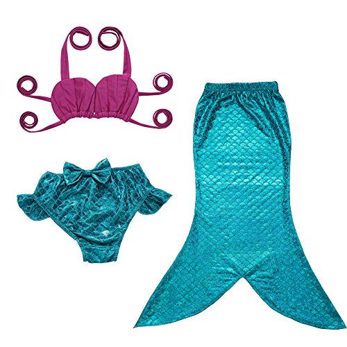 JFEELE Kids Toddler Baby Girls 2 Piece Swimsuit with Mermaid Tail Swimwear Bikini Set - 2-3T,Blue with Rose ()